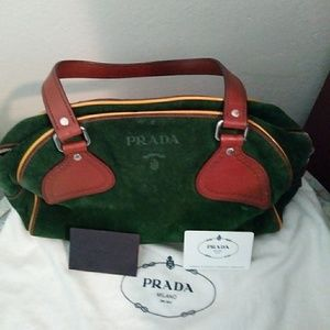 Prada Bowling Shoulder bag. Suede & Leather